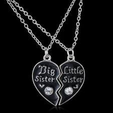 "2Pcs BFF Black ""Big Sister Litter Sister"" Crystal Heart Pendant Necklace Friends"