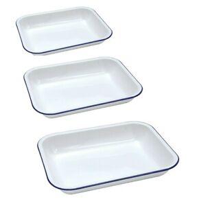 Falcon Enamel ware White With Blue Rim Enamel Bake Pan Baking Roasting Tray UK