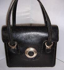 Fabulous francese vintage anni 1960 Vera Pelle Pelle di serpente nera handbag