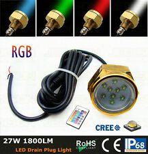 27W Cree Led Multi-color RGB Boat Drain Plug Underwater Light for Diving/fishing