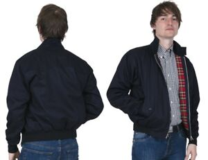 Men's Harrington Jacket Navy Blue Bomber Tartan Lined Skinhead Mods Relco