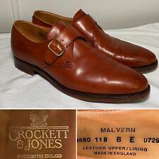 CROCKETT & JONES Malvern Brown Leather Single Monk Strap Shoes US Size 9/UK 8E