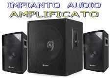 "IMPIANTO AUDIO SISTEMA AMPLIFICATO ATTIVO 1400W SUBWOOFER + 2 CASSE 8"" + CAVI"