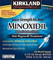 6 MONTHS KIRKLAND GENERIC MINOXIDIL LIQUID 5% MENS HAIR LOSS REGROWTH TREATMENT