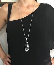 Women Fashion Silver Teardrop Crystal Long Sweater Chain  Necklace Pendant Charm