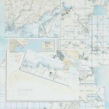 18270 - Riviera Maison Oceans Maps Blue, Cream & White Galerie Wallpaper