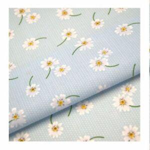 Sky Blue Daisy Polka Dots Floral Dotty Polycotton fabric 114cm (45 Inch) width