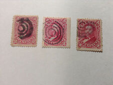 Hawaii ,2 CENT King Red, qty 3 Bulls Eye cancellations