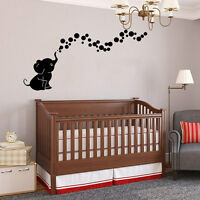 Elephant Bubbles Wall Sticker Vinyl Decals Kids Bedroom Baby Nursery Decor Gift