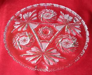 KRISTALL GLAS TORTENPLATTE STERN SCHLIFF FLORAL 3 FÜßCHEN Ø 30 cm 1,4 kg VINTAGE