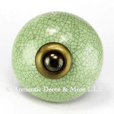 Green Crackle Ceramic Knobs, Cabinet Drawer Pulls or Furniture Handle #C16RR-AB