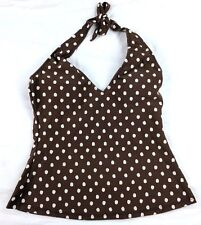 Athena Pick Your Fit Tankini Halter Brown White Polka Dots Size 8 GUC - CUTE!!