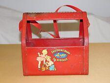 VINTAGE TOY AMSCO RED SHU SHINE BANK FOR KIDDIES METAL BOX