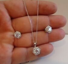 925 STERLING SILVER HALO CENTER NECKLACE & EARRING SET W/ 5 CT LAB DIAMONDS