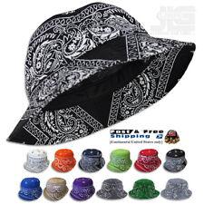 Paisley Bandana Bucket Hat (Various Colors) Cotton, JLGUSA S|M - L|XL USA Made