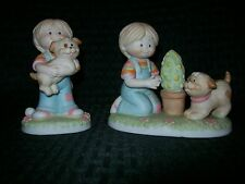 Wallace Berrie Jennifer & Josh Ceramic Collectibles Figurines Pair Girl and Dog