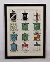 Rare Antique Lithograph Print of European Coats of Arms Chart Diagram