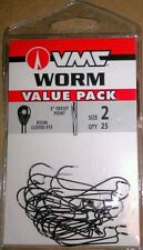 VMC Value Pack Worm Hooks size 2 Qty. 25 Bass Fishing Resin Closed Eye