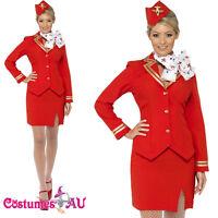 Ladies Red Trolley Dolly Virgin Air Hostess Flight Attendant Fancy Dress Costume
