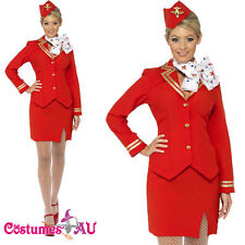Ladies Red Air Hostess Costume Trolley Dolly Virgin Flight Attendant Fancy Dress