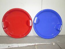 Plastic Round Saucer Snow Sledge Sleigh Ski Toboggan Children Kids Red Blue