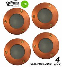 4 X LED Round Copper Recessed Exterior Wall Lights 12v 6w Mr16 Low Voltage