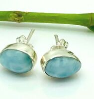 Caribbean Blue LARIMAR Tear Earrings Studs 925 Sterling Silver Dominican Gem P51