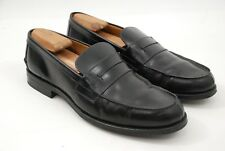Heschung France Hedera Black Leather Penny Loafers Rubber Soles 10.5