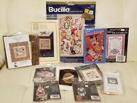 Lot Of 10 Assorted Counted Cross Stitch Kits Golf Christmas Sampler