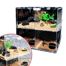 4 Grids Acrylic Reptile Terrarium Lizard Snake Spider Cage Tank Climbing Pet Box