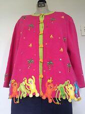 BEREK 2 Women's Shirt SZ M Pink RARE Monkeys Bananas Tropical Bling Cardigan