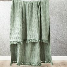 Renee Taylor Alysian Washed Cotton Textured Throw -Jade