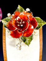 1950'S CORO GOLD-TONE ORANGE GREEN ENAMEL FAUX PEARL RHINESTONE FLOWER BROOCH