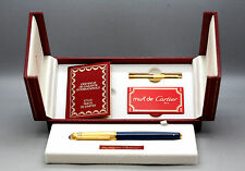 Very Rare Vintage Le Must Cartier Pasha 18K Gold Plated Fountain Pen Mint Boxed