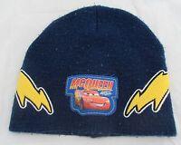 Disney Pixar Cars Lightning McQueen Flashes Dark Blue Beanie Knit Hat Winter Cap