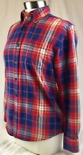 St Johns Bay Small Red Blue Purple Plaid Shirt Cotton Flannel Classic Fit Ladies