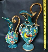2 x Vintage Large Pierced Gilded Hand Decorated Ewer Vases HB Quaregnon Belgium