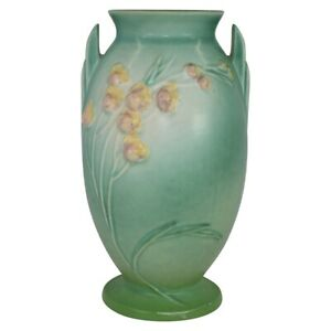 Vintage Roseville Pottery Ixia 1937 Green Art Deco Vase 860-9