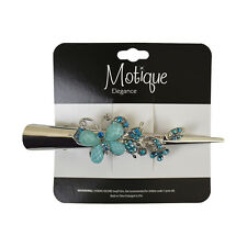 Silver Concord Hair Clip 5 Inch Girls Hair Clips with Stone Aqua Butterfly