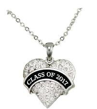 Class of 2017 Graduation Crystal Heart Silver Chain Necklace Jewelry Senior Gift
