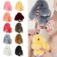 Fashion Bunny Keyring Soft Real Fluffy Rabbit Fur Hand Bag Pendant Charm Pompom