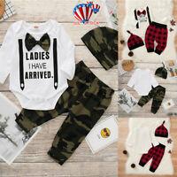 Infant Newborn Baby Boys Long Sleeve Bodysuit Romper Camo Pants Hat Outfits Set