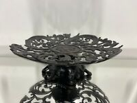 """VTG. Cast Iron Tray Footed Cake Plate Candy Trinket  9 1/2"""" W"""