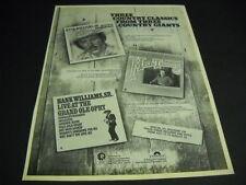 HANK WILLIAMS JR. Mel Tillis HANK WILLIAMS SR. 1976 Promo Display Ad