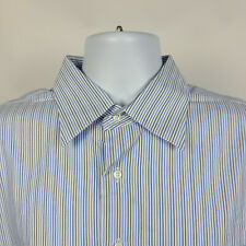 Nordstrom Wrinkle Free Blue White Striped Mens Dress Button Shirt Size 16.5 - 34