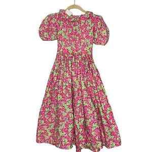 Vintage 90s Mousefeathers for saks floral girls dress Size 12 pink green