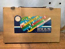 VINTAGE GUITAR OIL PASTELS ART SUPPLIES CRAYONS IN WOOD CASE - JAPAN
