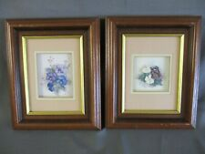 2 Shadow Box Pictures, Flowers & Butterflies, Wood Frame, 24cm x 29cm