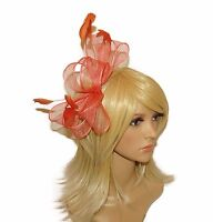 **NEW** LARGE BOW STYLE FASCINATOR CLEAR COMB CORNFLOWER BLUE CORAL WEDDINGS