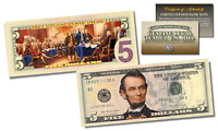 Declaration of Independence Official Legal Tender U.S. $5 Bill w/COA * 2-Sided *